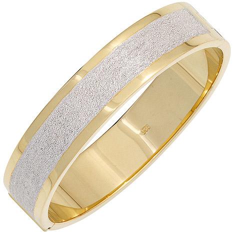 Armbaender für Frauen - SIGO Armreif Armband oval breit 925 Silber bicolor vergoldet mattiert Kastenschloss  - Onlineshop Goettgen