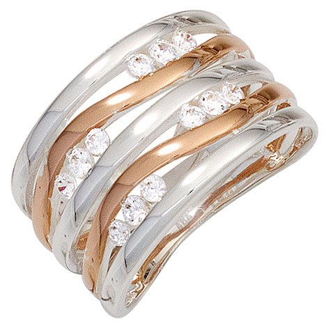 SIGO Damen Ring breit 925 Sterling Silber bicolor rotvergoldet 12 Zirkonia Silberring