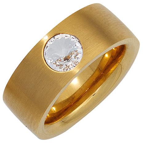 SIGO Damen Ring breit Edelstahl gold vergoldet mattiert mit SWAROVSKI® ELEMENT