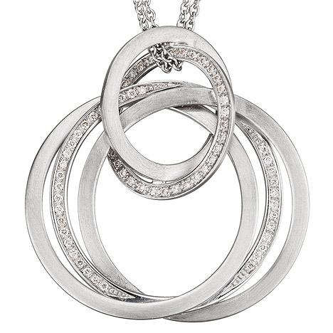 SIGO Collier Kette mit Anhänger 585 Gold Weißgold matt 69 Diamanten Brillanten 42 cm | Schmuck > Halsketten > Colliers | Silber - Gold - Weiß | Si | SIGO