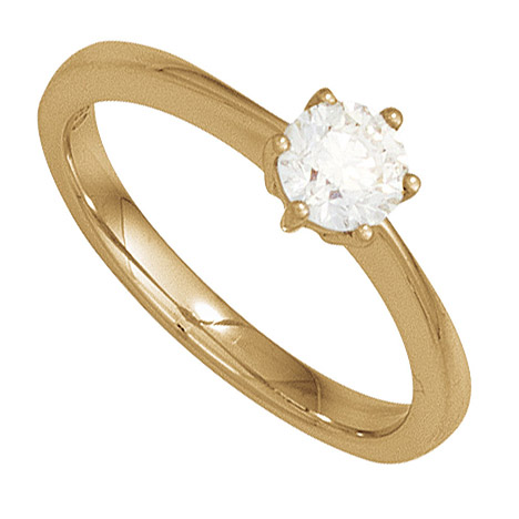 Damen Ring 585 Gold Gelbgold 1 Diamant Brillant 0,10ct. Diamantring Goldring