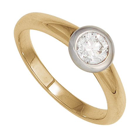 Damen Ring 585 Gold Gelbgold Weißgold 1 Diamant Brillant 0,20ct. Goldring