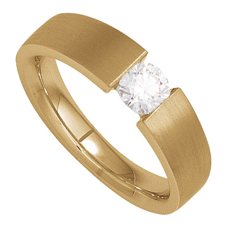 Damen Ring 585 Gold Gelbgold mattiert 1 Diamant Brillant 0,10ct. Goldring
