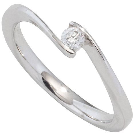 SIGO Damen Ring 585 Gold Weißgold 1 Diamant Brillant 0,10ct. Diamantring Goldring | Schmuck > Ringe > Diamantringe | Weißgold - Silber - Gold - Weiß | Si | SIGO