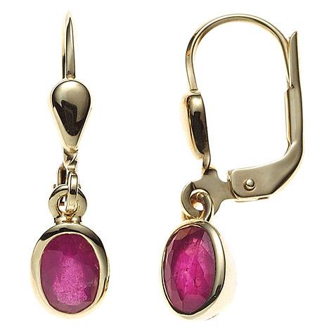 Ohrringe für Frauen - SIGO Boutons oval 585 Gold Gelbgold 2 Rubine rot Ohrringe Ohrhänger Goldohrringe  - Onlineshop Goettgen
