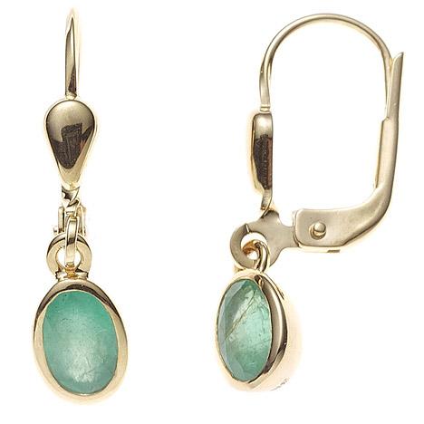 Ohrringe für Frauen - SIGO Boutons oval 585 Gold Gelbgold 2 Smaragde grün Ohrringe Ohrhänger Goldohrringe  - Onlineshop Goettgen