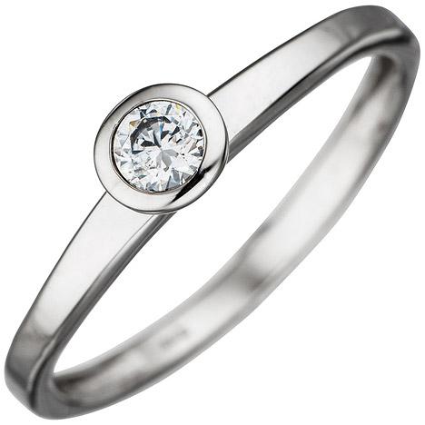 SIGO Damen Ring 333 Gold Weißgold 1 Zirkonia Goldring | Schmuck > Ringe | Silber - Gold - Weiß | SIGO