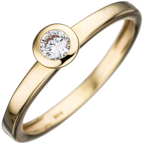 Damen Ring 333 Gold Gelbgold 1 Zirkonia Goldring