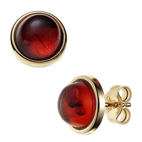 Ohrringe für Frauen - SIGO Ohrstecker rund 375 Gold Gelbgold 2 Bernsteine orange Ohrringe  - Onlineshop Goettgen
