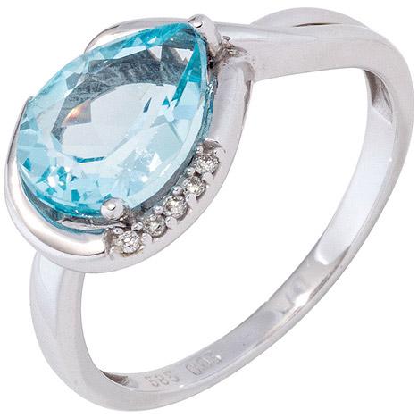 SIGO Damen Ring 585 Gold Weißgold 1 Blautopas hellblau blau 5 Diamanten Brillanten | Schmuck > Ringe > Diamantringe | Silber - Gold - Blau | SIGO
