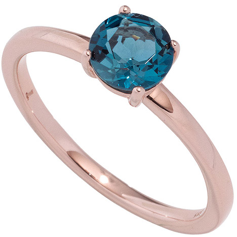 SIGO Damen Ring 585 Gold Rotgold 1 Blautopas blau London blue Goldring Rotgoldring