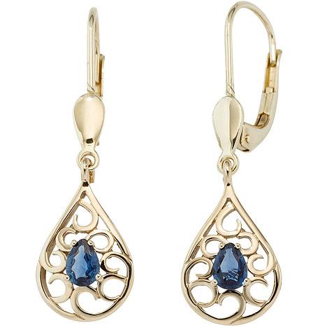 Ohrringe für Frauen - SIGO Boutons Tropfen 585 Gold Gelbgold 2 Safire blau Ohrringe Ohrhänger Goldohrringe  - Onlineshop Goettgen
