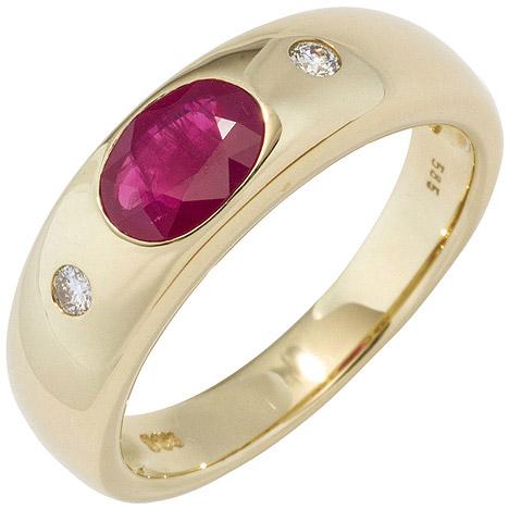 SIGO Damen Ring 585 Gold Gelbgold 1 Rubin rot 2 Diamanten Brillanten Goldring | Schmuck > Ringe > Diamantringe | Gold - Rot | Si | SIGO