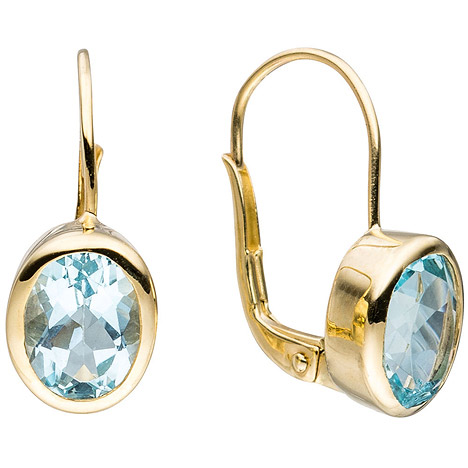 SIGO Boutons oval 333 Gold Gelbgold 2 Blautopase hellblau blau Ohrringe Ohrhänger | Schmuck > Ohrschmuck & Ohrringe > Ohrstecker | Gold - Blau | SIGO