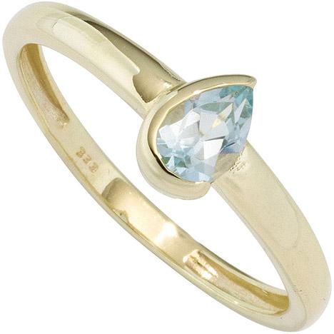 SIGO Damen Ring 333 Gold Gelbgold 1 Blautopas hellblau blau Goldring | Schmuck > Ringe > Goldringe | Gold - Blau | SIGO