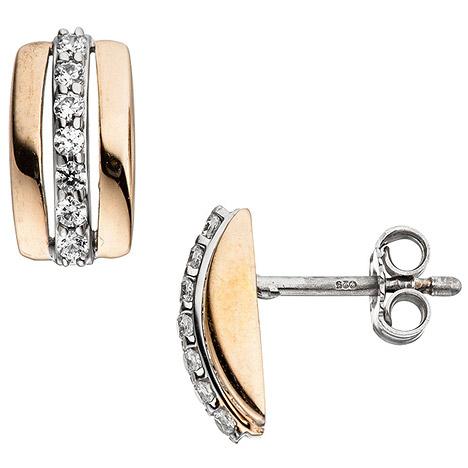 Ohrringe für Frauen - SIGO Ohrstecker 925 Sterling Silber bicolor vergoldet mit Zirkonia Ohrringe  - Onlineshop Goettgen