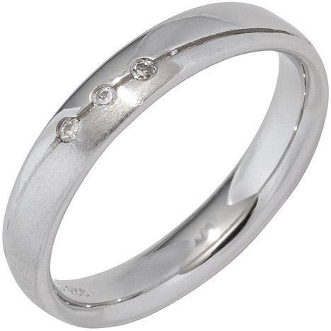 SIGO Partner Ring 925 Sterling Silber rhodiniert mattiert 3 Zirkonia Silberring | Schmuck > Ringe > Partnerringe | Silber - Weiß | SIGO