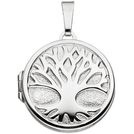 SIGO Medaillon rund Baum 925 Sterling Silber rh...