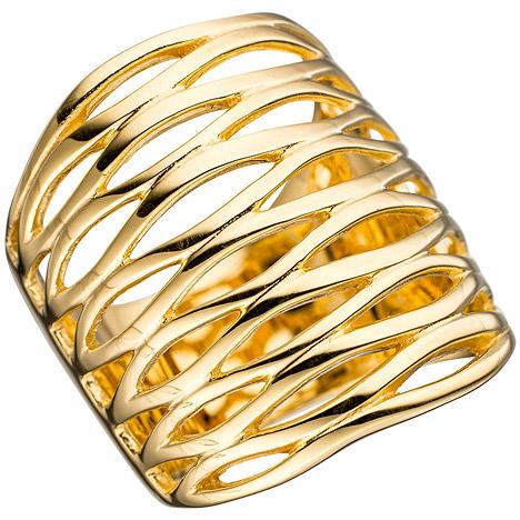 SIGO Damen Ring breit 925 Sterling Silber gold vergoldet Silberring   Schmuck > Ringe > Silberringe   Gold - Silber   SIGO
