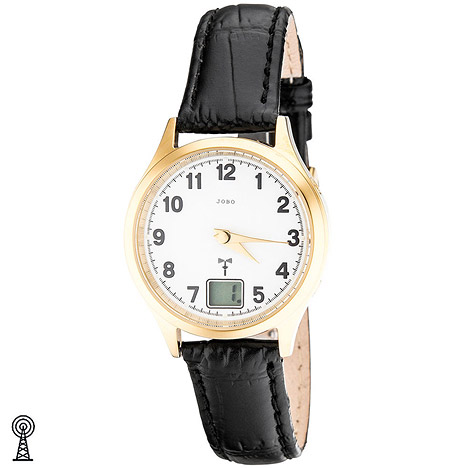 jobo damen armbanduhr edelstahl vergoldet leder datum damenuhr schmuck u. Black Bedroom Furniture Sets. Home Design Ideas