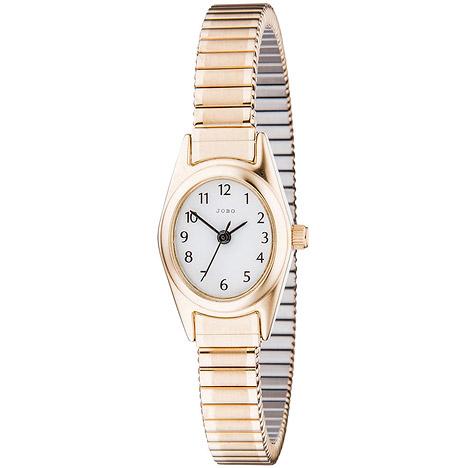 JOBO Damen Armbanduhr Quarz Analog Edelstahl vergoldet Flexband Damenuhr oval