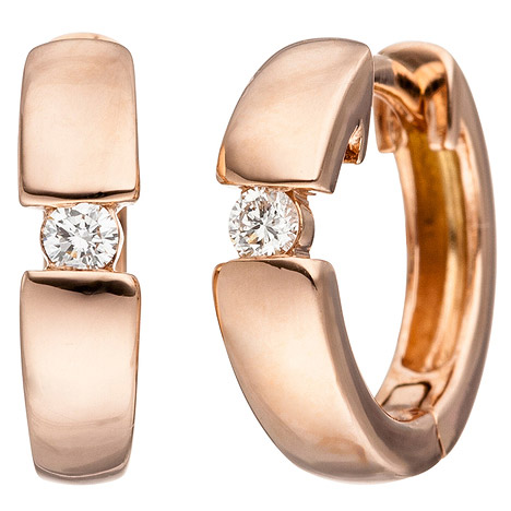 Ohrringe für Frauen - SIGO Creolen 585 Gold Rotgold 2 Diamanten Brillanten Ohrringe Rotgoldohrringe  - Onlineshop Goettgen