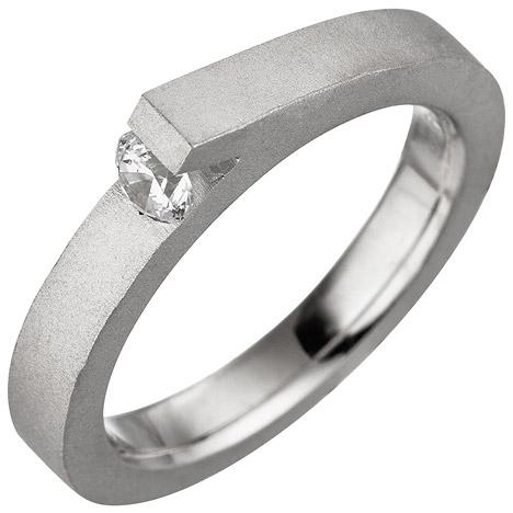 SIGO Damen Ring 925 Sterling Silber mattiert matt 1 Zirkonia Silberring