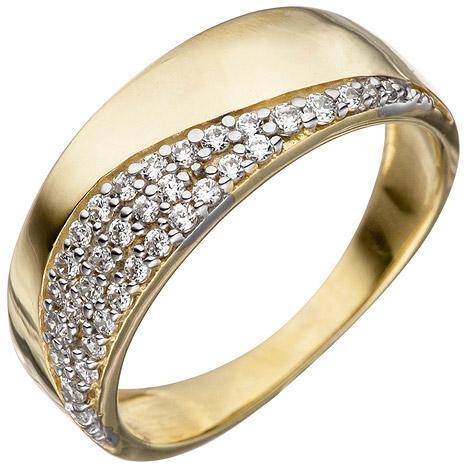 SIGO Damen Ring 333 Gold Gelbgold bicolor mit Zirkonia Goldring