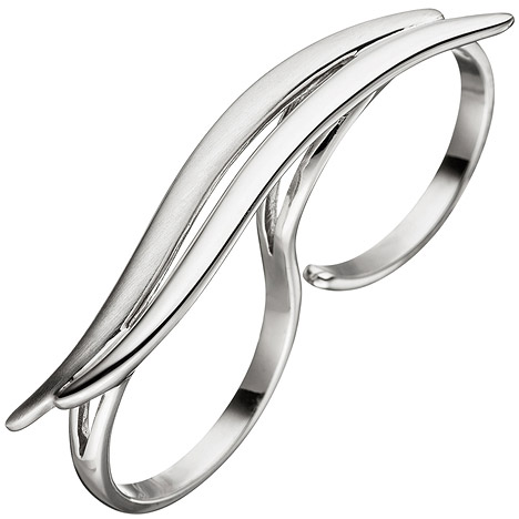 SIGO Damen Ring Zweifingerring 925 Sterling Silber matt mattiert Silberring 2 Finger