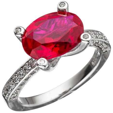 SIGO Damen Ring 925 Sterling Silber mit Zirkonia rot und weiß Silberring   Schmuck > Ringe > Silberringe   Silber - Weiß   SIGO