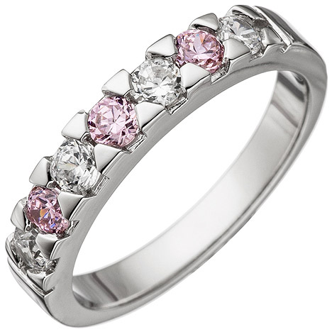 SIGO Damen Ring 925 Sterling Silber mit Zirkonia rosa und weiß Silberring