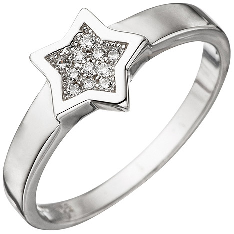 SIGO Damen Ring Stern 925 Sterling Silber mit Zirkonia Silberring