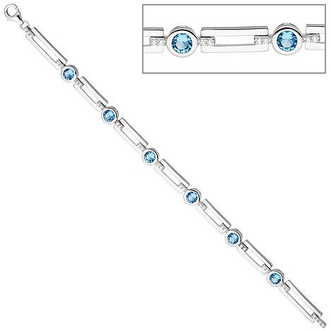 Armbaender für Frauen - SIGO Armband 925 Sterling Silber mit Zirkonia hellblau und weiß 19 cm Silberarmband  - Onlineshop Goettgen