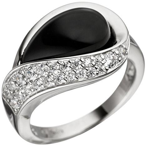 sigo damen ring 925 sterling silber mit zirkonia 1 onyx. Black Bedroom Furniture Sets. Home Design Ideas