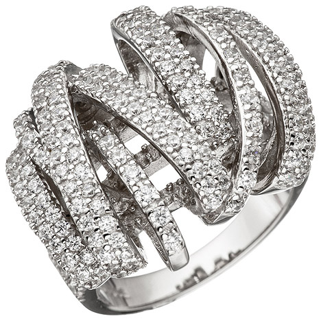 SIGO Damen Ring verschlungen 925 Sterling Silber mit Zirkonia Silberring