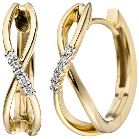 Creolen 585 Gold Gelbgold 10 Diamanten Brillanten 0,06ct. Ohrringe Goldohrringe