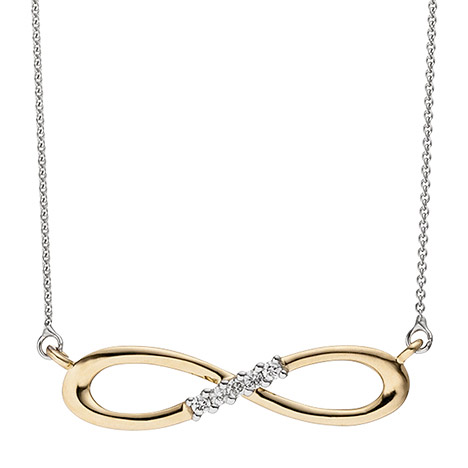 Collier Halskette Unendlich 585 Gold bicolor 5 Diamanten Brillanten Kette