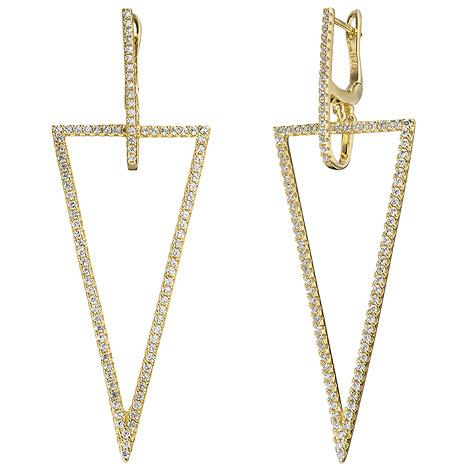 Ohrringe für Frauen - SIGO Creolen dreieckig 925 Silber gold vergoldet mit Zirkonia Ohrringe Ohrhänger  - Onlineshop Goettgen