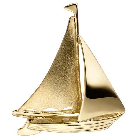 SIGO Anhänger Segelschiff Segelboot 333 Gold Gelbgold matt mattiert Goldanhänger | Schuhe > Boots | Gold | SIGO