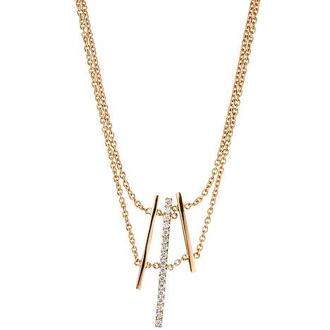 SIGO Collier Halskette 585 Gold Rotgold 17 Diamanten Brillanten 41 cm Kette | Schmuck > Halsketten > Colliers | Gold - Weiß | Si | SIGO