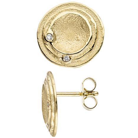 SIGO Ohrstecker rund 585 Gold Gelbgold 4 Diamanten Brillanten Ohrringe matt mattiert