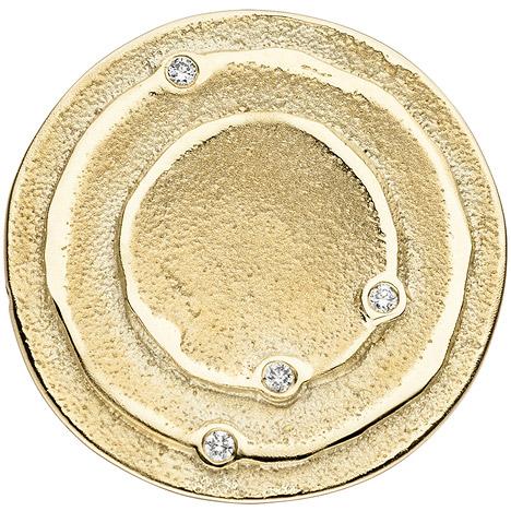 SIGO Anhänger rund 585 Gold Gelbgold matt 4 Diamanten Brillanten 0,04ct. Goldanhänger