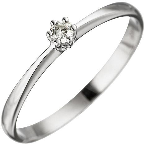 SIGO Damen Ring 585 Gold Weißgold 1 Diamant Brillant Weißgoldring Diamantring
