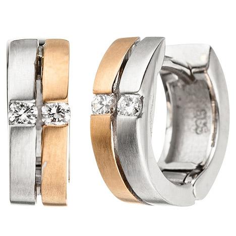 SIGO Creolen 585 Gold Weißgold Rotgold bicolor matt 4 Diamanten Brillanten Ohrringe