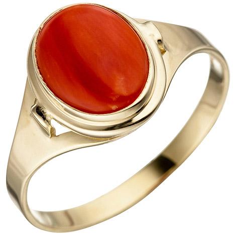 SIGO Damen Ring 333 Gold Gelbgold 1 Koralle rot Goldring