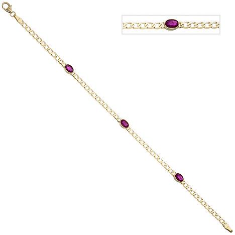 Armbaender für Frauen - SIGO Armband 585 Gold Gelbgold 3 Rubine rot 19,5 cm Goldarmband Rubinarmband  - Onlineshop Goettgen