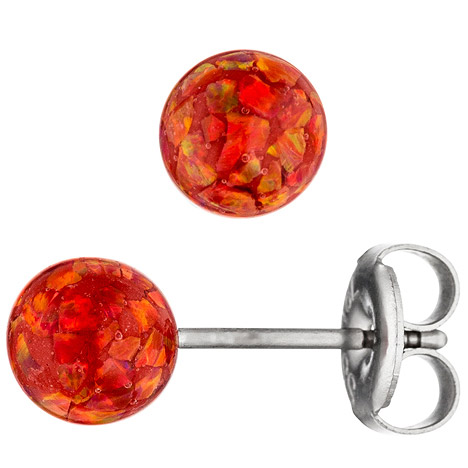 Ohrringe für Frauen - SIGO Ohrstecker Kugel rot Edelstahl mit Opalen Ohrringe Kugelohrstecker  - Onlineshop Goettgen