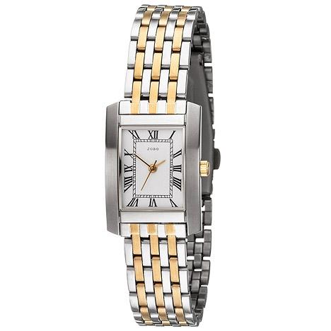 Uhren für Frauen - JOBO Damen Armbanduhr Quarz Analog Edelstahl bicolor vergoldet Damenuhr  - Onlineshop Goettgen