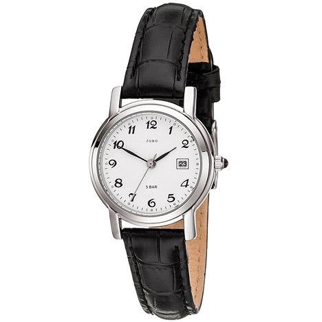 JOBO Damen Armbanduhr Quarz Analog Edelstahl Lederband schwarz Damenuhr Datum