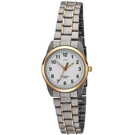 Uhren für Frauen - JOBO Damen Armbanduhr Quarz Analog Titan bicolor vergoldet Damenuhr  - Onlineshop Goettgen